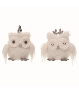 Plush Winter Owl 2 Asst