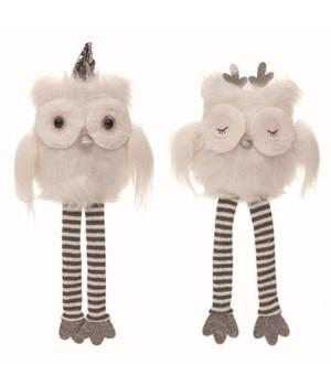 Plush Winter Owl Shelf Sitter 2 Asst
