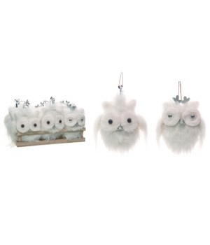 Plush Winter Owl Orns In Crate S/12