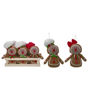 Plush Gingerbread Orns In Crate S/12