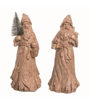 Res Wood Carved Santa Fig 2 Asst