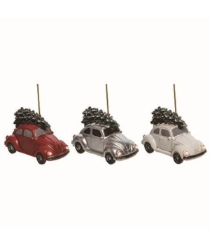 Res L/U Love Bug Christmas Orn 3 Asst