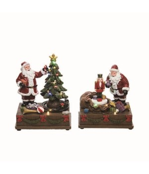 Res L/U Musical Santa Tree Decor 2 Asst