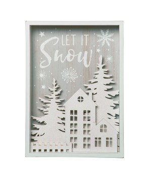 MDF Snow Scene Block Decor