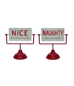 Metal Naughty/Nice Reversible Sign