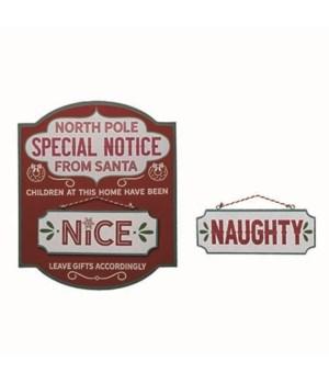 MDF Naughty/Nice Decor S/2