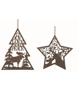 Plywood Laser Cut Christmas Orn 2 Asst