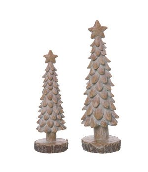 Res Rustic Christmas Trees S/2