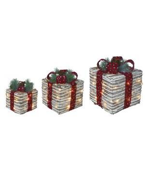 Rattan Light Up Ribbon Boxes S/3