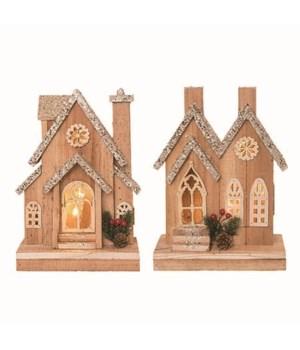Wood Light Up Rustic House 2 Asst