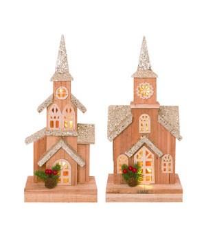 Wood Light Up Rustic Church 2 Asst