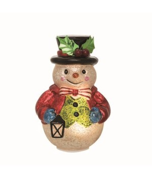 Glass Light Up Vintage Snowman Decor