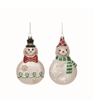 Glass Slim Snowman Orn 2 Asst