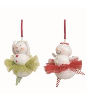 Res Ballerina Snowman Orn 2 Asst