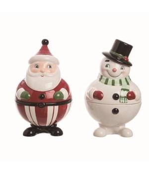 Cer Santa/Snowman Container 2 Asst