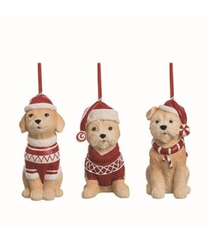 Res Christmas Sweater Dog Orn 3 Asst