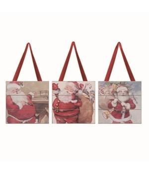 MDF Vintage Santa Slat Decor 3 Asst