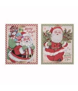 MDF Vintage Cmas Card Block Decor 2 Asst