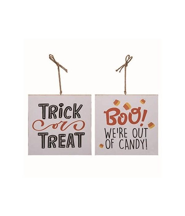 MDF Reversible Trick or Treat Door Sign