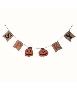 Fabric Spooky Jack-O-Lantern Banner