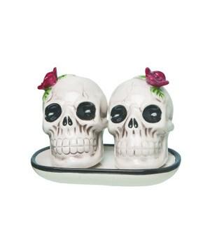 Cer Flower Skull S/P w/Tray S/3