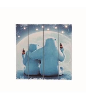 MDF Light Up Coke Polar Bears Wall Art