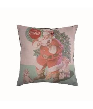 "17"" X 17"" Santa And Dog Coke Pillow"