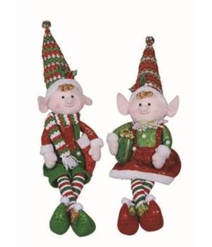 Lg Plush Elf Shelf Sitter 2 Asst