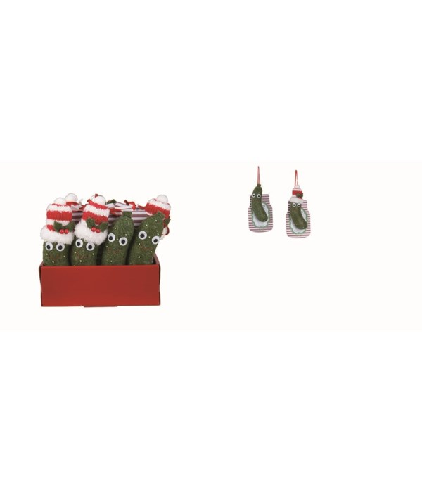 Felt Christmas Pickle Orn S/12 w/Display