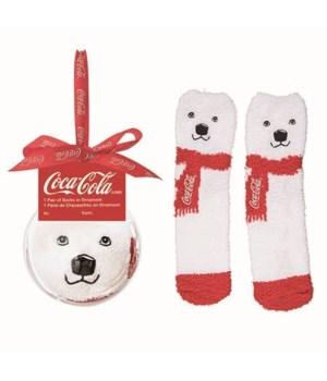 Plush Coke Bear Socks in Acrylic Orn
