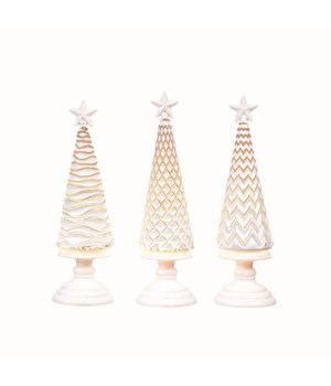 Acrylic Light Up Frosted Tree 3 Asst