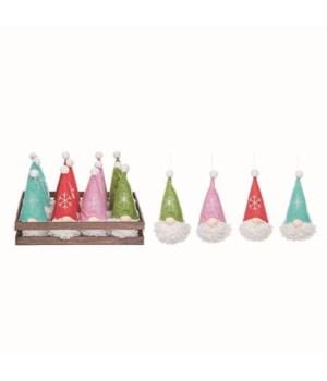 Plush Gnome Orn In Wood Box S/12