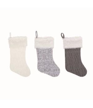 Knit Cozy Stocking 3 Asst