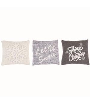 Knit Embroidery Pillow 3 Asst