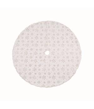 Faux Fur w/Silver Snowflake Tree Skirt