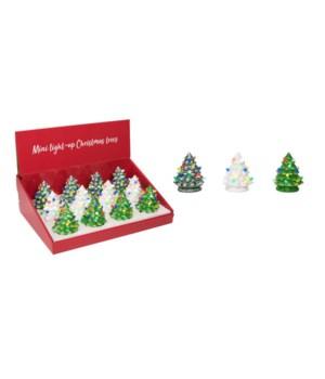 Mini Cer Light Up Trees w/Display S/12