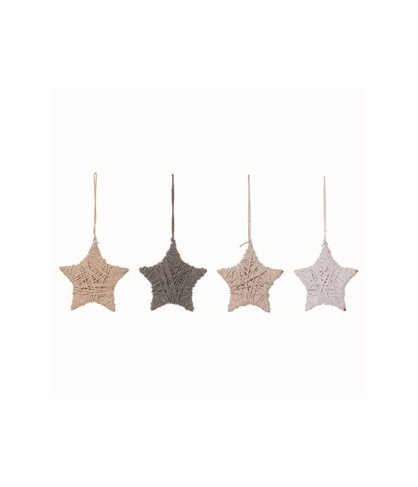 Wood Wrapped Star Orn 4 Asst