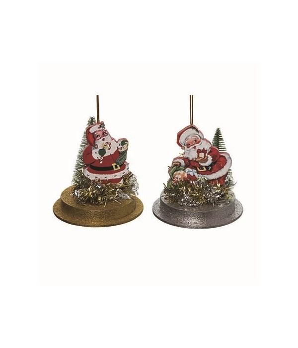 Retro Santa Orn w/Mini Tree 2 Asst