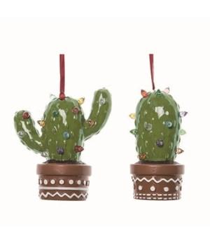 Dol Cactus Light Up Orn 2 Asst