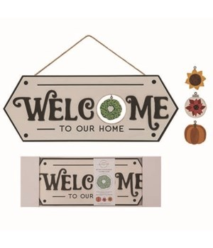 MDF Welcome Sign w/changeable Icon S/5