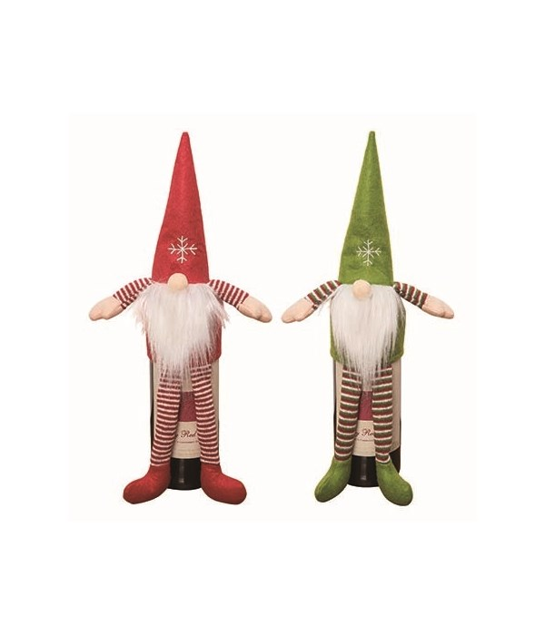 Fabric Gnome Wine Bottle Topper 2 Asst