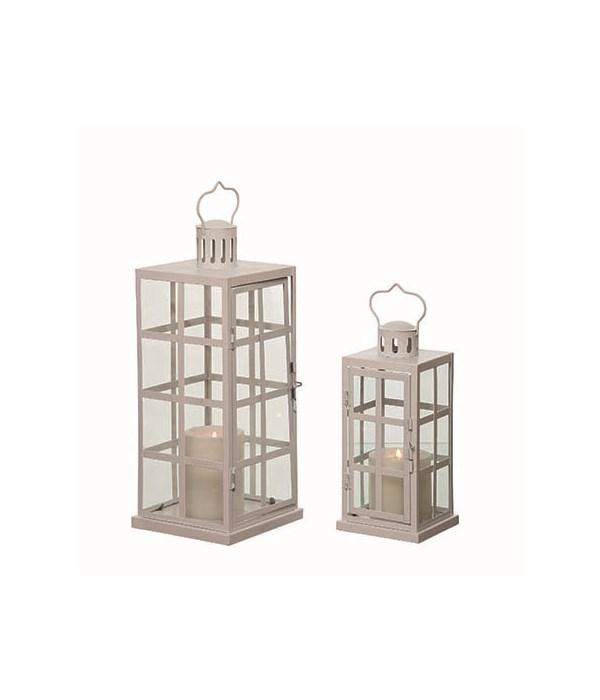 Metal White Winter Lanterns S/2