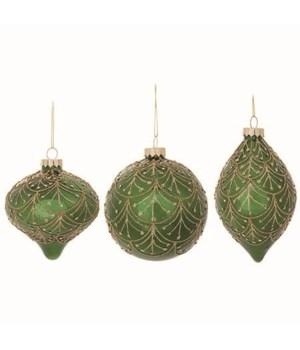 Glass Green & Gold Orn 3 Asst