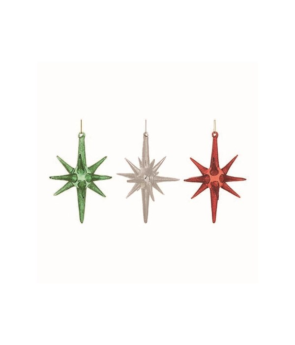 Lg Glass Starburst Orn 3 Asst