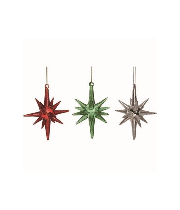 Sm Glass Starburst Orn 3 Asst