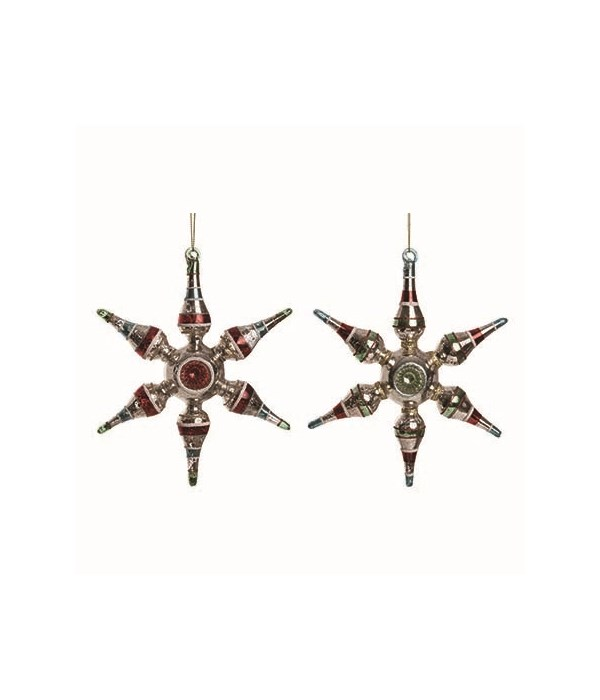 Glass Retro Star Orn 2 Asst