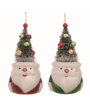 Glass Santa w/Bottle Brush Hat 2 Asst