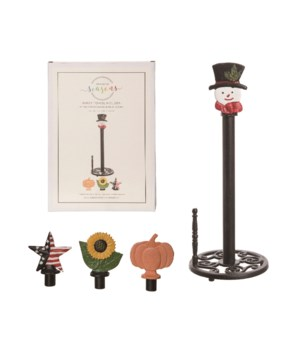 Cast Iron Paper Towel Holder w/Icons S/5