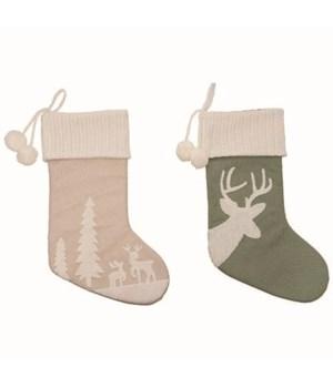 Plush Reindeer Stocking 2 Asst