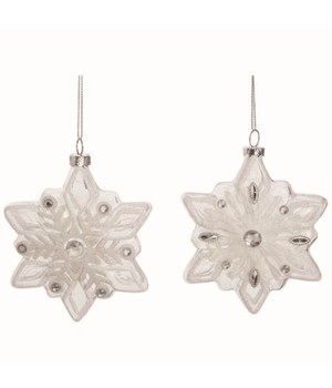 Glass Snowflake Shaped Orn 2 Asst